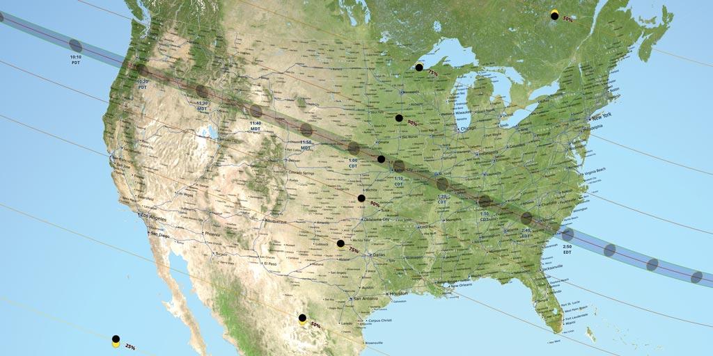 Mappa Eclissi di Sole USA 2017